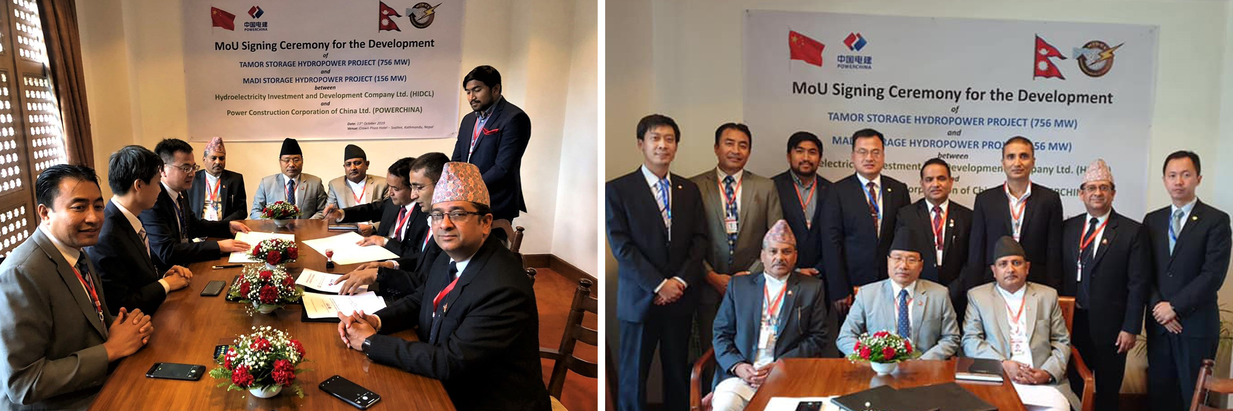 MoU signing of Tamor and Madi HEP between HIDCL and POWERCHINA